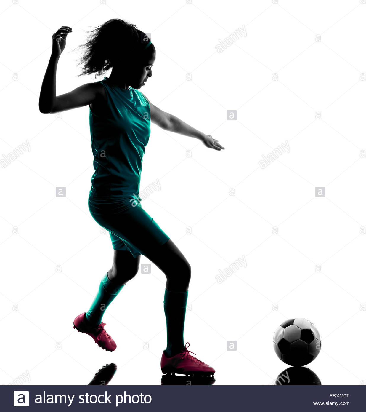 1236x1390 One Teenager Girl Child Playing Soccer Player In Silhouette