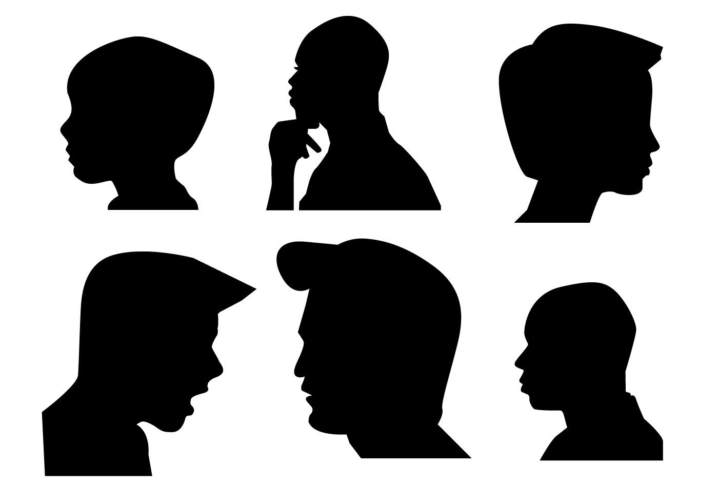 1400x980 Vector Boys Side Face Silhouette.jpg Illustrazione