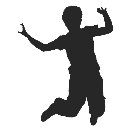 512x512 Boy Jumping Silhouette 3