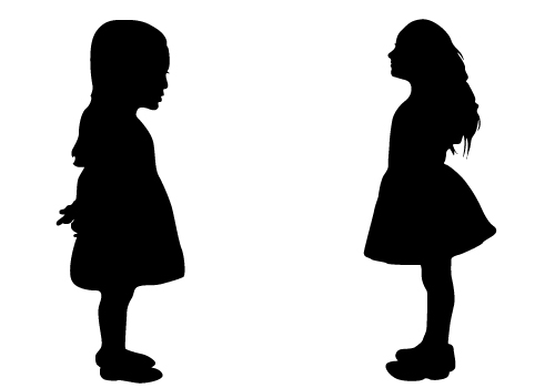 500x350 Silhouette Of Two Girls Clipart