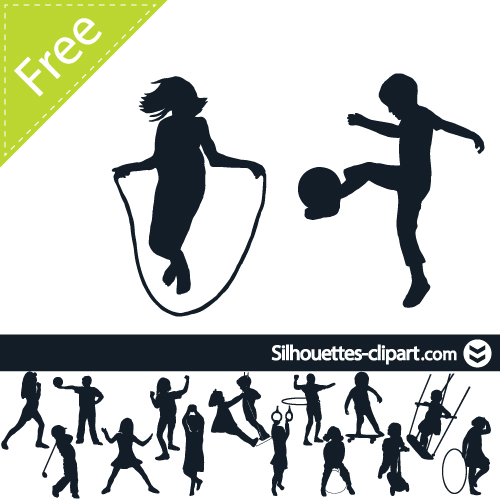 500x500 Children Playing Vector Silhouette Silhouettes