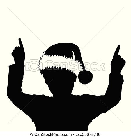 450x470 Child Silhouette With Chrismas Hat Illustration. Child Eps