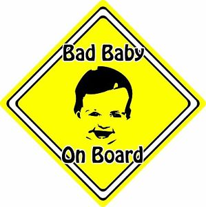 299x300 Bad Babychild On Board Car Sign ~ Baby Face Silhouette ~ Neon