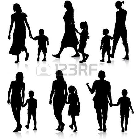 450x450 Family With 6 Children Silhouette Clipart Collection