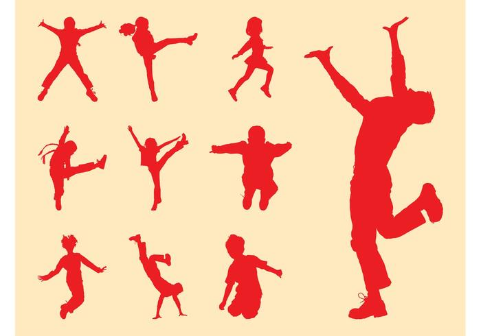 700x490 Kids Silhouette Free Vector