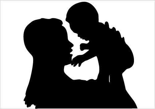 501x352 Loving Mother And Child Silhouette Showing Love Vector Download