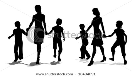 450x263 Mother With Children Silhouettes