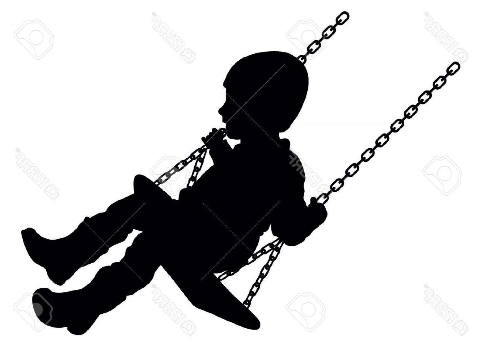 1560x1129 Photostock Vector Vector Illustration Of Swinging Child Silhouette