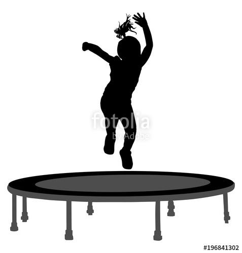 477x500 Child Silhouette Jumping On Garden Trampoline Vector Illustration