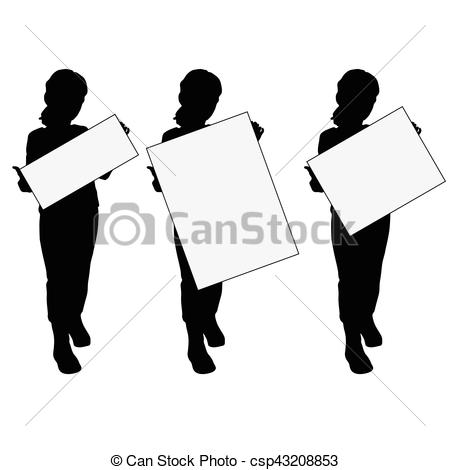 450x470 Child Silhouette With Card Set Design Illustration On White
