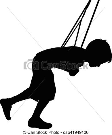 389x470 Child Swinging, Silhouette Vector Clipart
