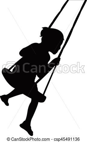 289x470 Girl Swinging, Silhouette Vectors