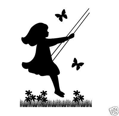 400x389 Silhouette Children Mural Decal Vintage Swinging Child Girl Wall