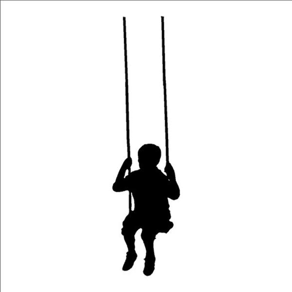 600x600 Swinging Child Wall Decals Removable Wall Sticker Little Boy