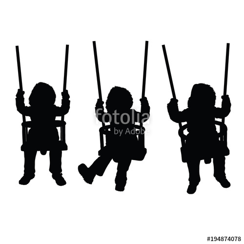 500x500 Child On The Swing Is Having Fun Black Silhouette Stock Image
