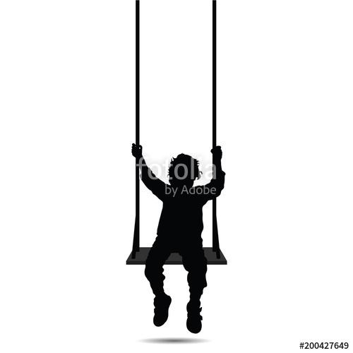 500x500 Child Swinging Black Vector Silhouette Three Stock Image
