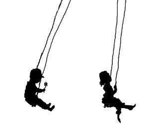 300x250 Children Silhouettes Swinging