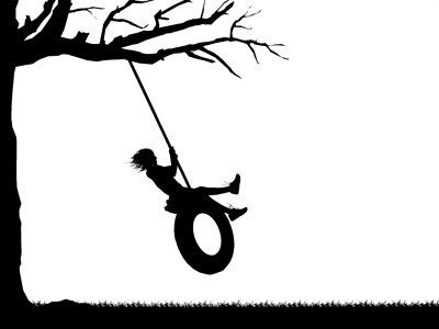 400x300 Silhouette swing Silhouette Animation Graphic Depicting A Girl