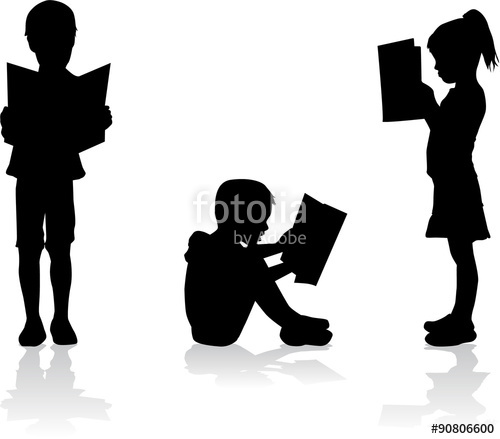 500x439 Silhouette Of A Child Reading A Book At. Stock Image And Royalty