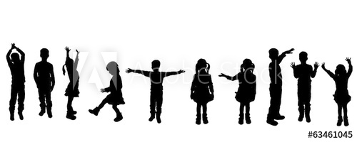 500x200 Vector Silhouette Of Children.