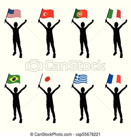 450x470 Child Silhouette Holding Flags Illustration. Child Vector