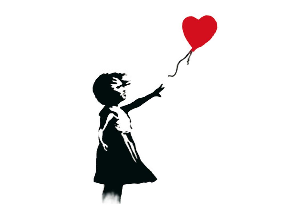 1024x768 Drawn Little Girl Balloon