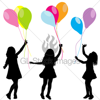 325x325 Girl Silhouette With Balloons Gl Stock Images