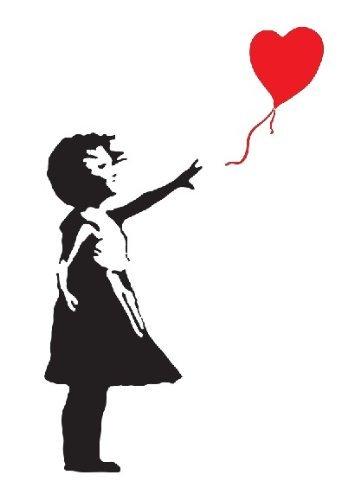 354x500 Banksy Girl With Heart Balloon Vinyl Wall Art Decal Sticker 120cm