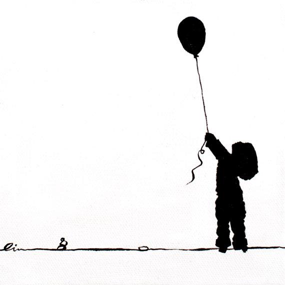 570x570 Little Girls On Little Canvas Girl Letting A Balloon Go
