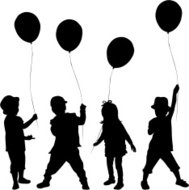 189x190 Silhouette Girl With Balloons Premium Clipart