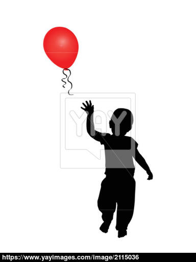 384x512 Child Reaching For A Red Balloon Vector