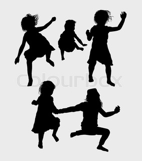 283x320 Playing Children Silhouette. Good Use For Symbol, Logo, Web Icon