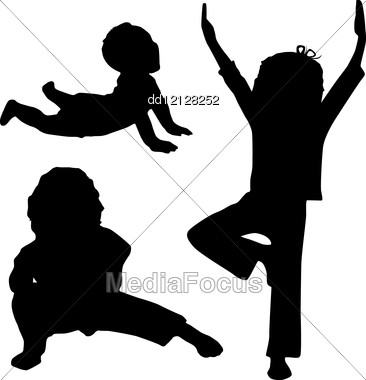 366x380 Silhouette Of Children Who Play Yoga