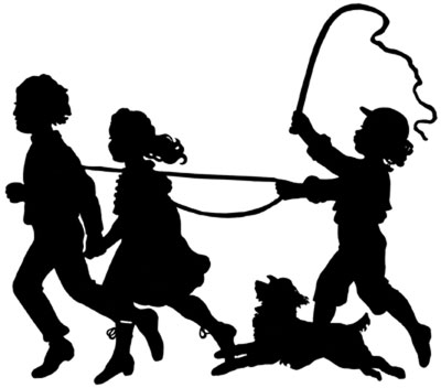 400x352 Silhouette Of Children And Dog Playing
