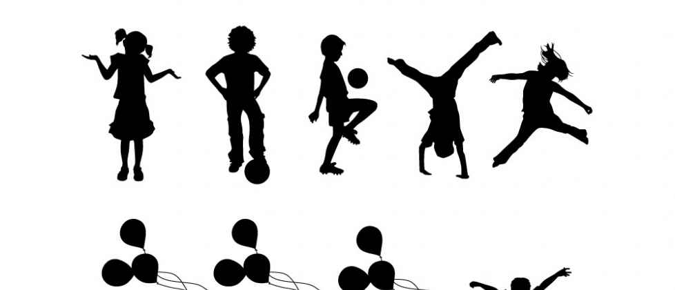 978x420 Silhouettes Set Containing 15 Children Playing And Having Fun