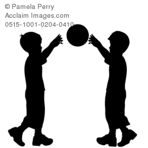 300x300 Art Illustration Of Little Boys Throwing A Basketball Silhouette