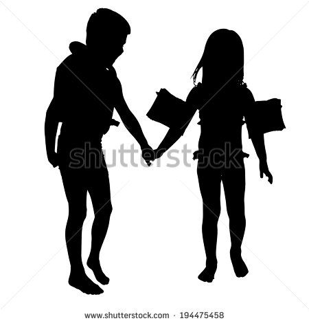 450x470 Vector Silhouette Of Children Who Play On White Background