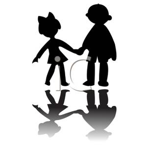 300x300 Black And White Silhouette Of Two Children Holding Hands