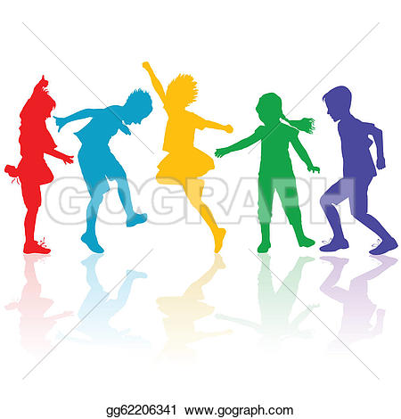 450x470 Children Holding Hands Silhouette Color Clipart