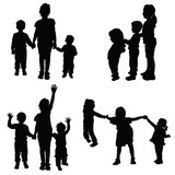 160x160 Children Sitting Silhouette Stock Image And Royalty Free Vector
