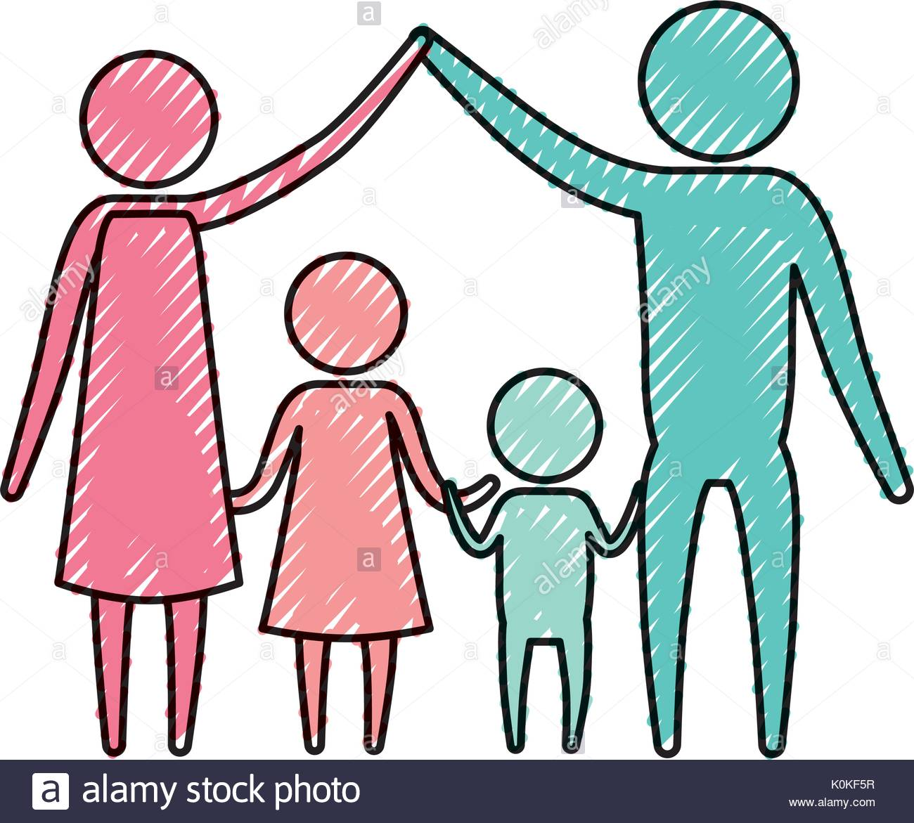 1300x1171 Color Crayon Silhouette Pictogram Couple Parents Holding Hands Up