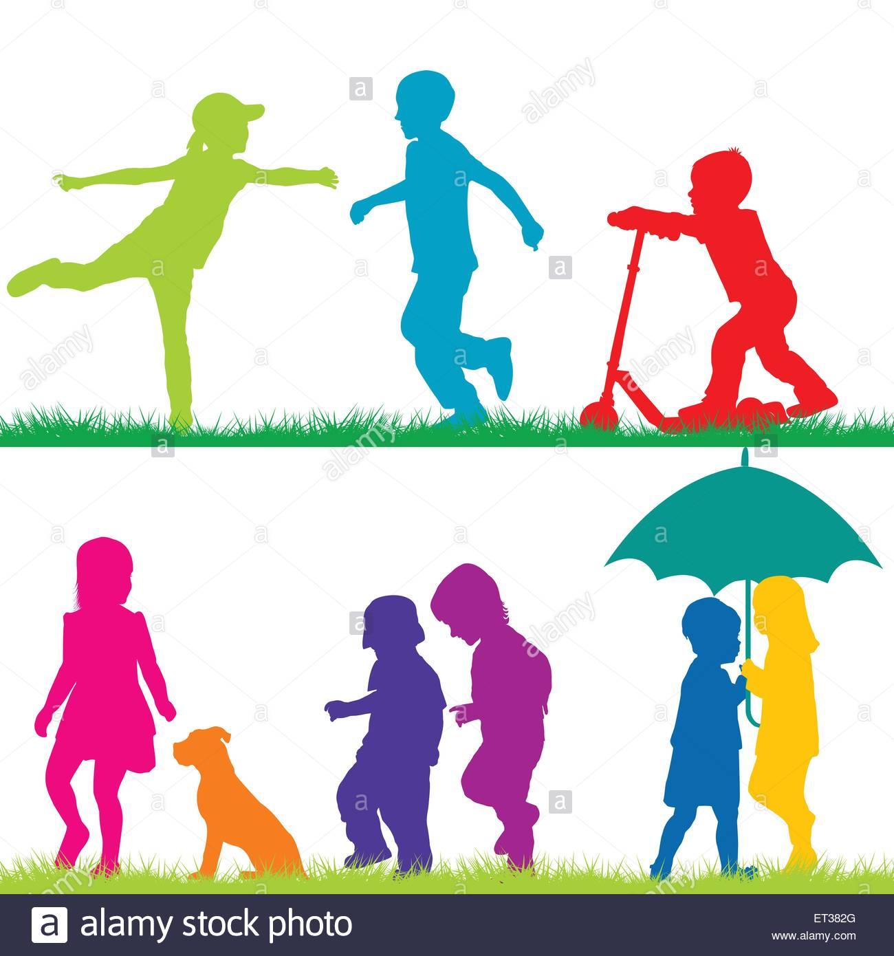 1300x1390 Children Silhouettes Playing Stock Vector Art Amp Illustration