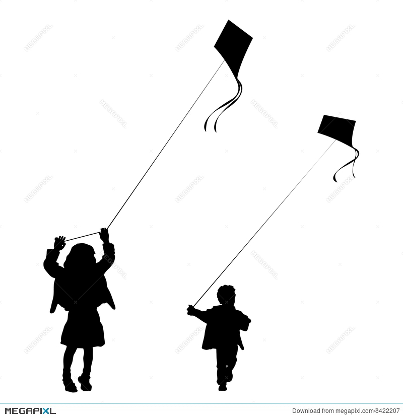 800x830 Kids Playing With Kites Silhouette Illustration 8422207