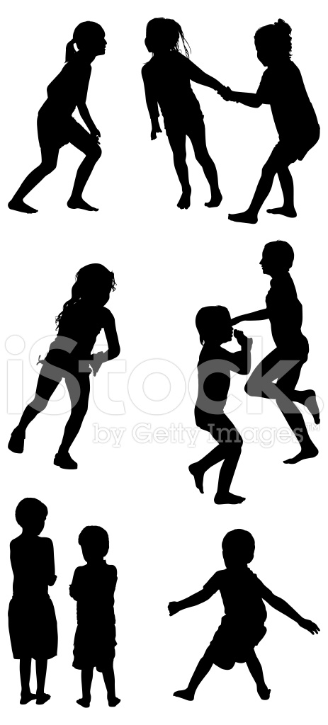 463x1024 Multiple Silhouettes Of Playful Children Stock Vector
