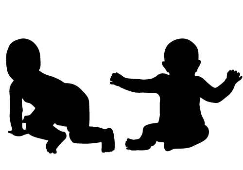 500x350 Silhouette Clipart Toddler And Baby