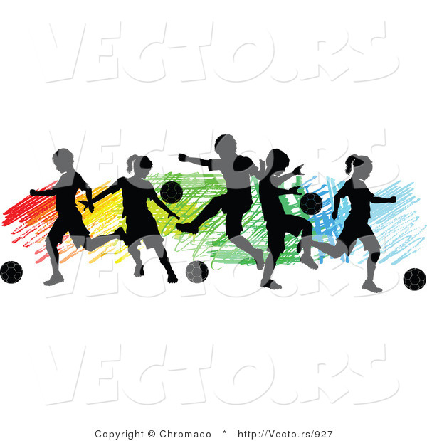 600x620 Vector Of A Children Playing Soccer Over Colorful Background