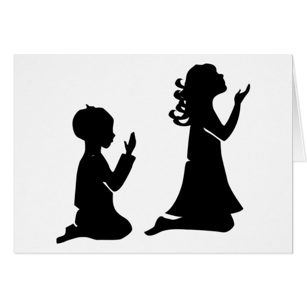 630x630 Praying Children Black Silhouettes Card