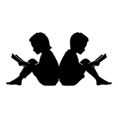 240x240 Kid Read Book With Star Silhouette Illustration