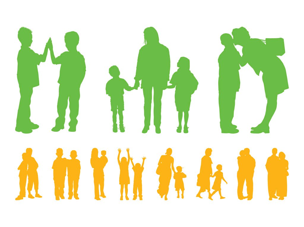 1024x765 Children And Parents Silhouettes Vector Art Amp Graphics