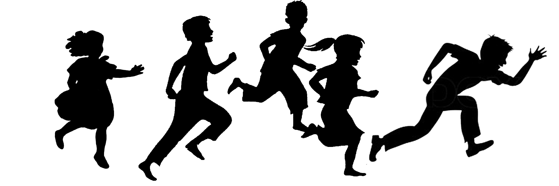 1800x600 Children Running Silhouette